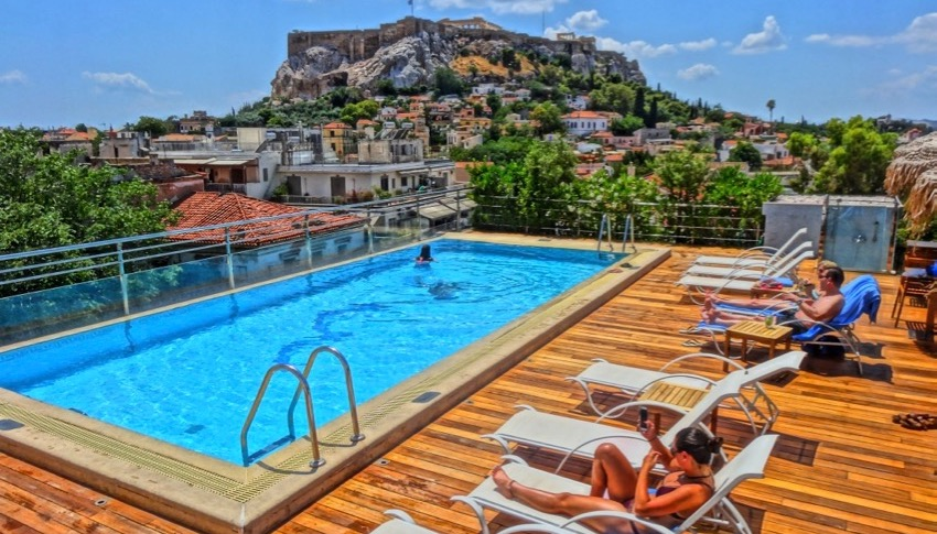Electra Palace Hotel pool with Acropolis view